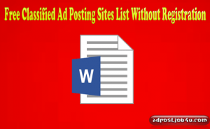 900 Free Classified Ad Posting Sites List Without Registration in India