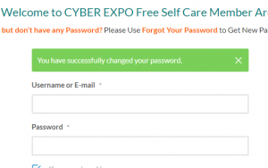 Steps to Generate New Password for CYBER EXPO self Care Member Area.