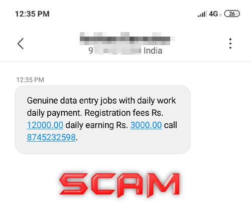 SMS Text Data Entry Jobs Fraud