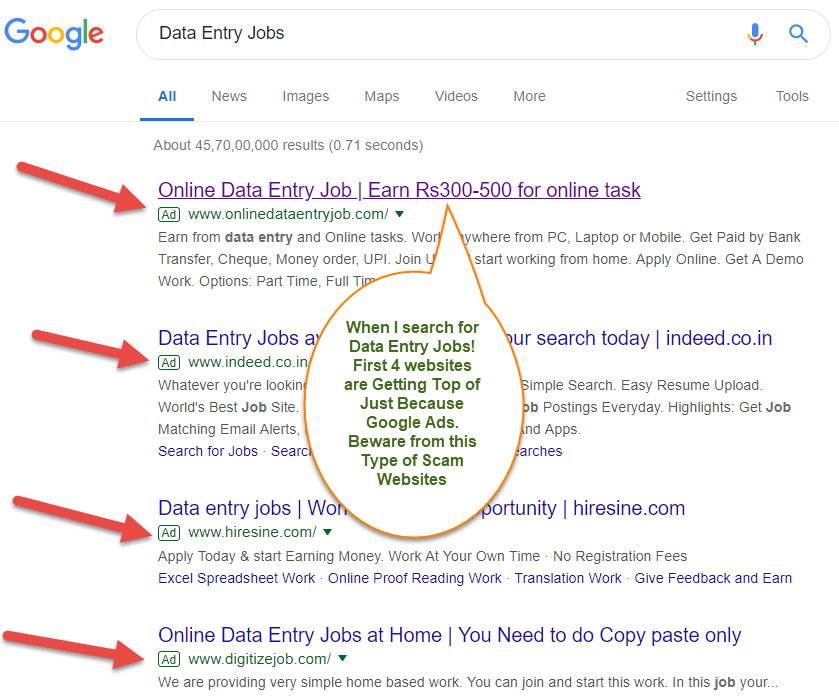 When I search for Data Entry Jobs First 4 websites are Getting Top of Just Because Google Ads Beware from this Type of Scam Websites